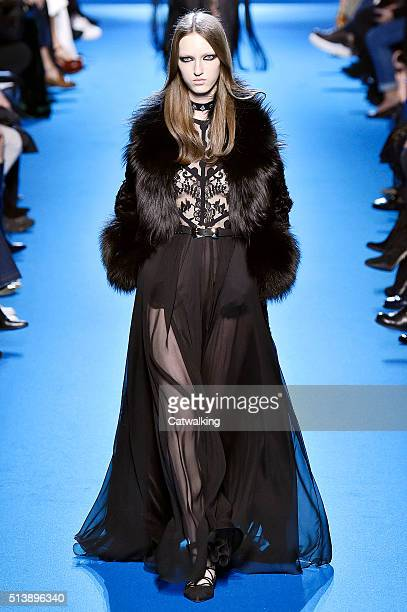 A model walks the runway at the Elie Saab Autumn Winter 2016 fashion show during Paris Fashion Week on March 5 2016 in Paris France
