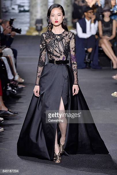 A model walks the runway at the Elie Saab Autumn Winter 2016 fashion show during Paris Haute Couture Fashion Week on July 6 2016 in Paris France
