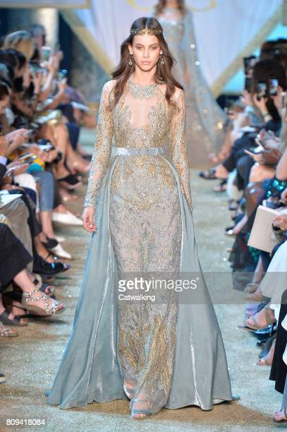 A model walks the runway at the Elie Saab Autumn Winter 2017 fashion show during Paris Haute Couture Fashion Week on July 5 2017 in Paris France