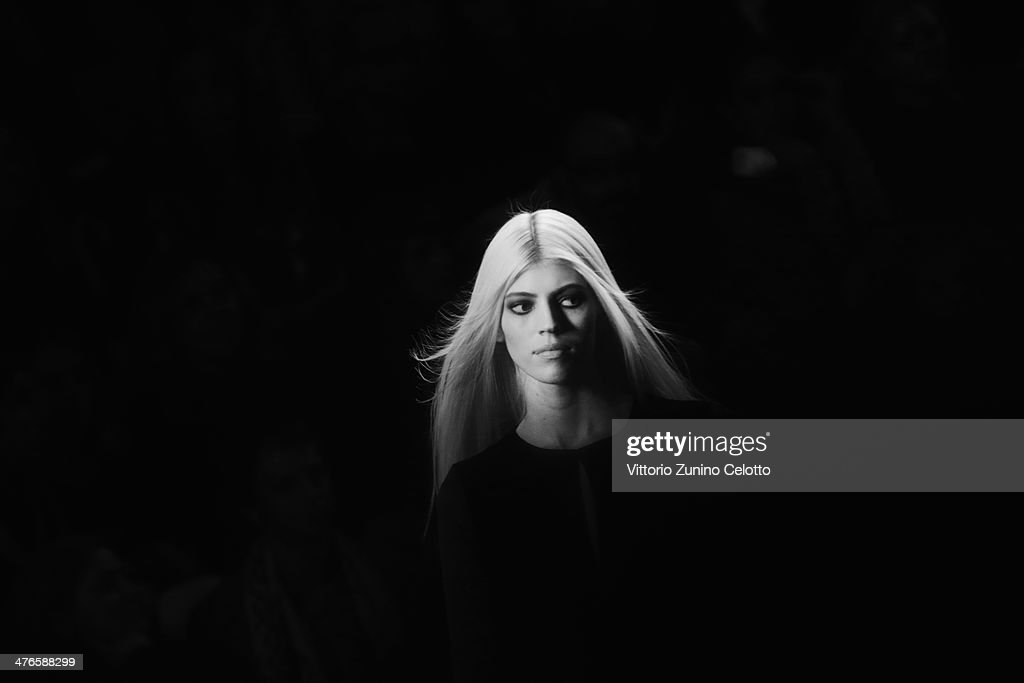 A model walks the runway at the Elie Saab show as part of the Paris Fashion Week Womenswear Fall/Winter 2014-2015 on March 3, 2014 in Paris, France.