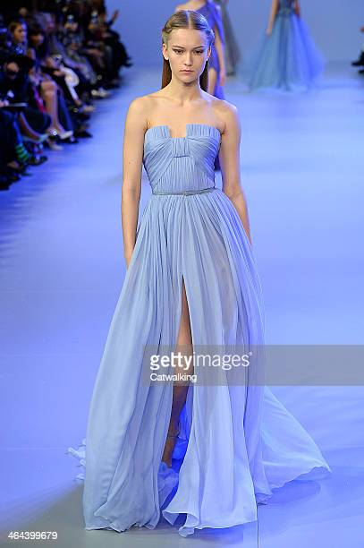 Model walks the runway at the Elie Saab Spring Summer 2014 fashion show during Paris Haute Couture Fashion Week on January 22, 2014 in Paris, France.