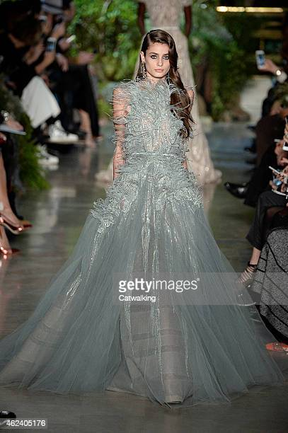 Model walks the runway at the Elie Saab Spring Summer 2015 fashion show during Paris Haute Couture Fashion Week on January 28, 2015 in Paris, France.