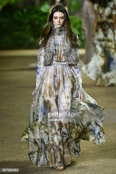 A model walks the runway at the Elie Saab Spring Summer 2016 fashion show during Paris Haute Couture Fashion Week on January 27 2016 in Paris France