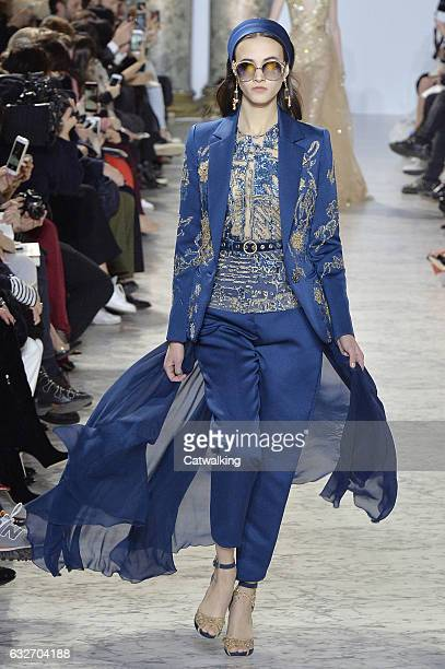 Model walks the runway at the Elie Saab Spring Summer 2017 fashion show during Paris Haute Couture Fashion Week on January 25, 2017 in Paris, France.