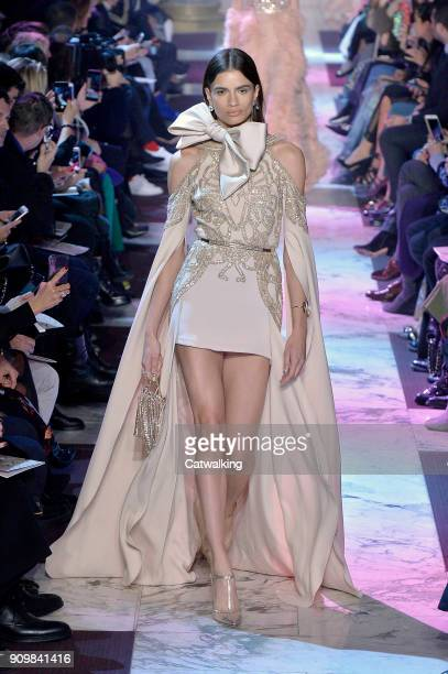 A model walks the runway at the Elie Saab Spring Summer 2018 fashion show during Paris Haute Couture Fashion Week on January 24 2018 in Paris France