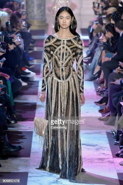 Model walks the runway at the Elie Saab Spring Summer 2018 fashion show during Paris Haute Couture Fashion Week on January 24, 2018 in Paris, France.