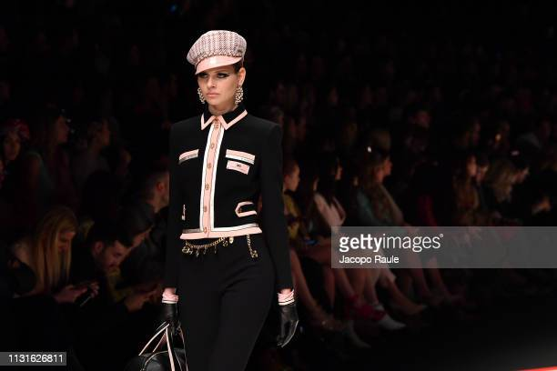 Model walks the runway at the Elisabetta Franchi show at Milan Fashion Week Autumn/Winter 2019/20 on February 23, 2019 in Milan, Italy.