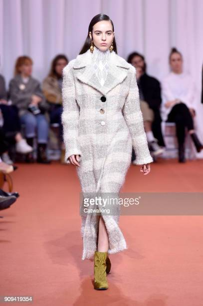 Model walks the runway at the Ellery Autumn Winter 2018 fashion show during Paris Haute Couture Fashion Week on January 23, 2018 in Paris, France.