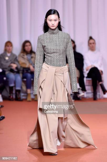 A model walks the runway at the Ellery Autumn Winter 2018 fashion show during Paris Haute Couture Fashion Week on January 23 2018 in Paris France