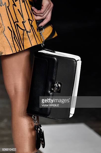 A model walks the runway at the Ellus 2nd Floor fashion show during the Sao Paulo Fashion Week Spring/Summer 20162017 on April 27 2016 in Sao Paulo...