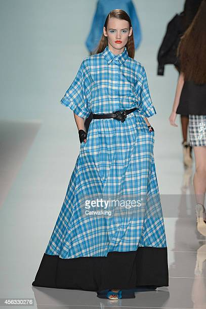 A model walks the runway at the Emanuel Ungaro Spring Summer 2015 fashion show during Paris Fashion Week on September 29 2014 in Paris France