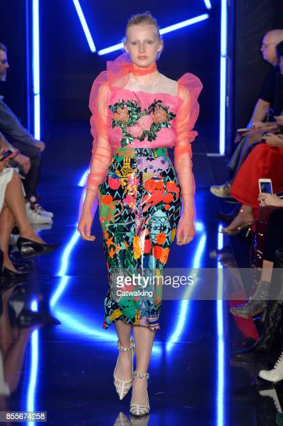 A model walks the runway at the Emanuel Ungaro Spring Summer 2018 fashion show during Paris Fashion Week on September 29 2017 in Paris France