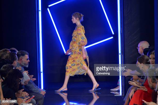 Model walks the runway at the Emanuel Ungaro Spring Summer 2018 fashion show during Paris Fashion Week on September 29, 2017 in Paris, France.