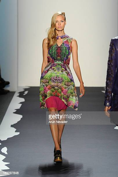 A model walks the runway at the Emerson By Jackie FraserSwan fashion show during MercedesBenz Fashion Week Spring 2014 at The Studio at Lincoln...