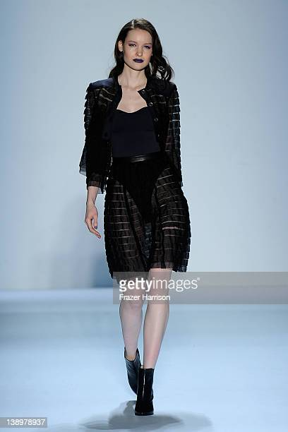 A model walks the runway at the Emerson Fall 2012 fashion show during MercedesBenz Fashion Week at The Studio at Lincoln Center on February 14 2012...