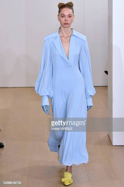 A model walks the runway at the Emilia Wickstead Ready to Wear Spring/Summer 2019 fashion show during London Fashion Week September 2018 on September...