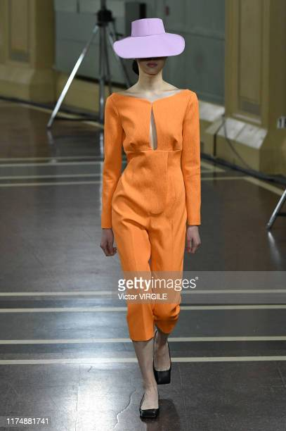 A model walks the runway at the Emilia Wickstead Ready to Wear Spring/Summer 2020 fashion show during London Fashion Week September 2019 on September...