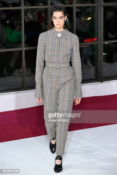 A model walks the runway at the Emilia Wickstead Ready to Wear Fall/Winter 20182019 fashion show during London Fashion Week February 2018 on February...