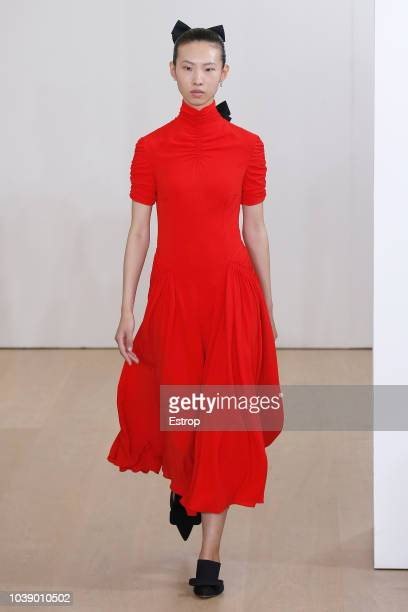 A model walks the runway at the Emilia Wickstead show during London Fashion Week September 2018 on September 17 2018 in London England