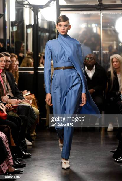 A model walks the runway at the Emilia Wickstead show during London Fashion Week February 2019 at the Le Caprice on February 18 2019 in London England