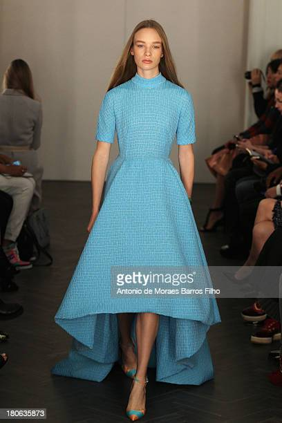 Model walks the runway at the Emilia Wickstead show during London Fashion Week SS14 on September 15, 2013 in London, England.