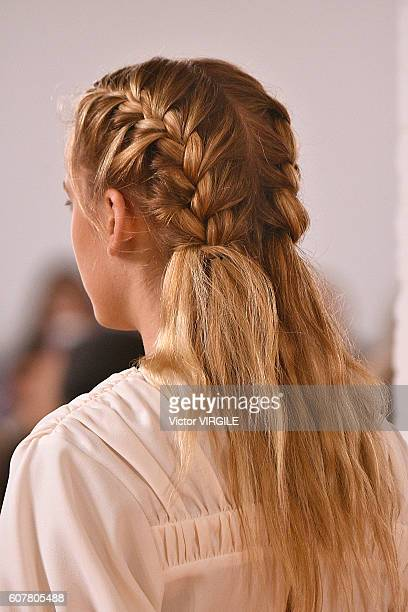 Model walks the runway at the Emilia Wickstead show during London Fashion Week Spring/Summer collections 2016/2017 on September 16, 2016 in London,...