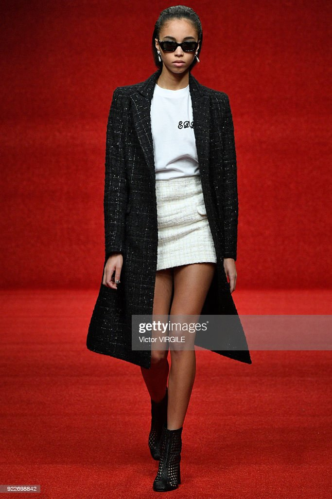 A model walks the runway at the Emilio de la Morena Ready to Wear Fall/Winter 2018-2019 fashion show during London Fashion Week February 2018 on February 20, 2018 in London, England.