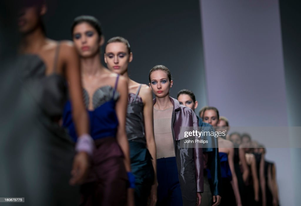 A model walks the runway at the Emilio de la Morena show during London Fashion Week SS14 at BFC Courtyard Showspace on September 17, 2013 in London, England.