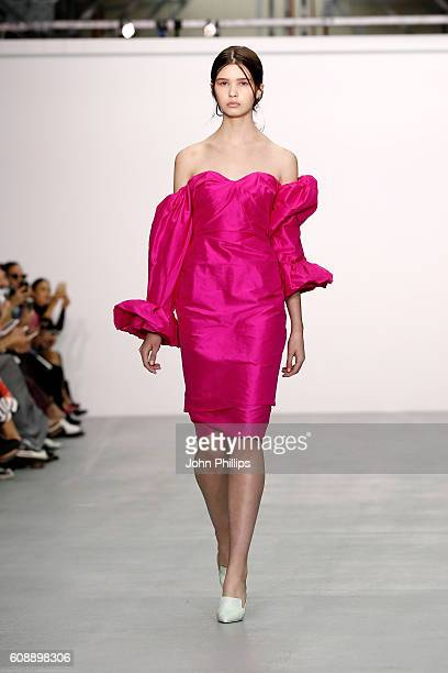 A model walks the runway at the Emilio De La Morena show during London Fashion Week Spring/Summer collections 2017 on September 20 2016 in London...
