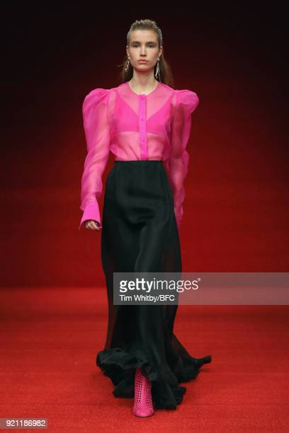 Model walks the runway at the Emilio de la Morena show during London Fashion Week February 2018 at BFC Show Space on February 20, 2018 in London,...