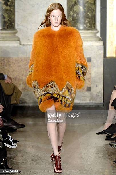 Model walks the runway at the Emilio Pucci Autumn Winter 2014 fashion show during Milan Fashion Week on February 22, 2014 in Milan, Italy.