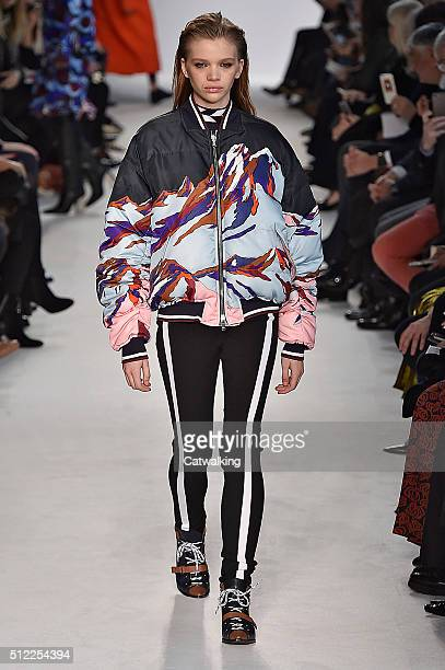 A model walks the runway at the Emilio Pucci Autumn Winter 2016 fashion show during Milan Fashion Week on February 25 2016 in Milan Italy