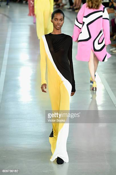 A model walks the runway at the Emilio Pucci show during Milan Fashion Week Spring/Summer 2017 on September 22 2016 in Milan Italy