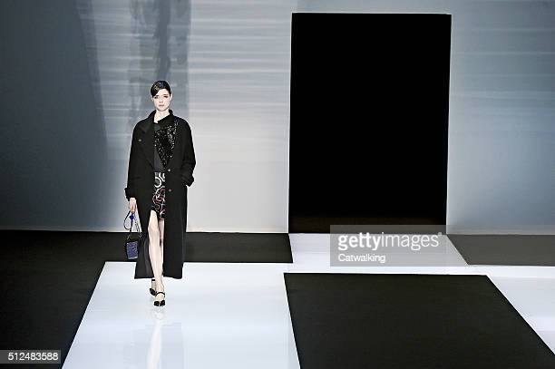 Model walks the runway at the Emporio Armani Autumn Winter 2016 fashion show during Milan Fashion Week on February 26, 2016 in Milan, Italy.