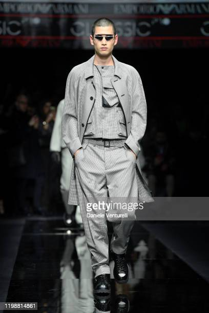 A model walks the runway at the Emporio Armani fashion show on January 11 2020 in Milan Italy