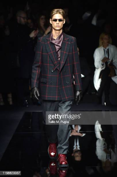 Model walks the runway at the Emporio Armani fashion show on January 11, 2020 in Milan, Italy.