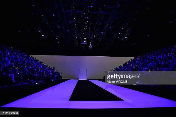 A model walks the runway at the Emporio Armani fashione show during Milan Fashion Week Fall/Winter 2016/2017 on February 26 2016 in Milan Italy
