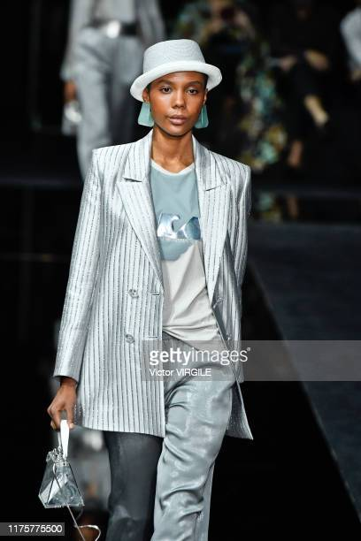 A model walks the runway at the Emporio Armani Ready to Wear fashion show during the Milan Fashion Week Spring/Summer 2020 on September 19 2019 in...
