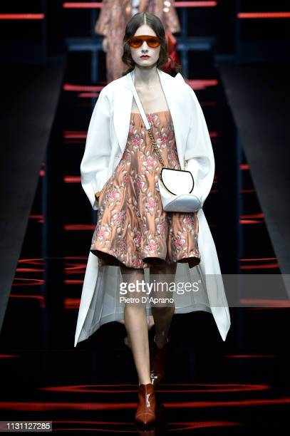 Model walks the runway at the Emporio Armani show at Milan Fashion Week Autumn/Winter 2019/20 on February 21, 2019 in Milan, Italy.