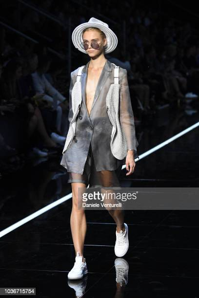 A model walks the runway at the Emporio Armani show during Milan Fashion Week Spring/Summer 2019 on September 20 2018 in Milan Italy