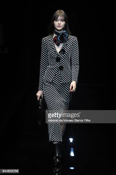 Model walks the runway at the Emporio Armani show during Milan Fashion Week Fall/Winter 2017/18 on February 24, 2017 in Milan, Italy.