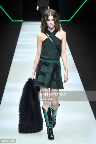 A model walks the runway at the Emporio Armani show during Milan Fashion Week Fall/Winter 2018/19 on February 25 2018 in Milan Italy