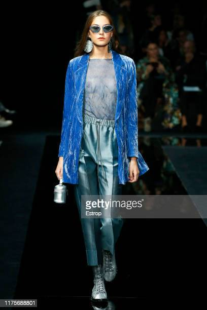 Model walks the runway at the Emporio Armani show during the Milan Fashion Week Spring/Summer 2020 on September 19, 2019 in Milan, Italy.