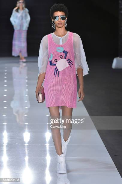 A model walks the runway at the Emporio Armani Spring Summer 2018 fashion show during London Fashion Week on September 17 2017 in London United...