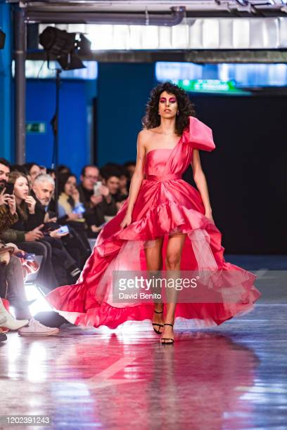 Model walks the runway at the Encinar fashion show during Mercedes Benz Fashion Week Madrid Autumn/Winter 2020-21 on January 27, 2020 in Madrid,...