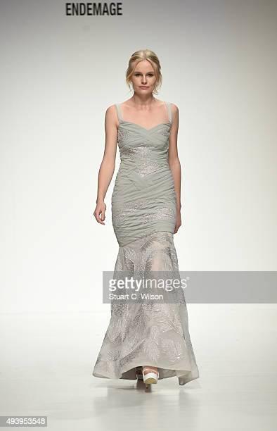 A model walks the runway at the Endemage show during Dubai Fashion Forward Spring/Summer 2016 at Madinat Jumeirah on October 23 2015 in Dubai United...