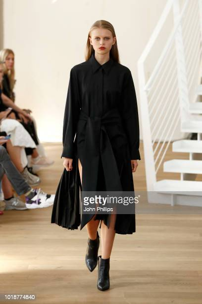 A model walks the runway at the Epilogue show during Oslo Runway SS19 at Posthallen on August 14 2018 in Oslo Norway