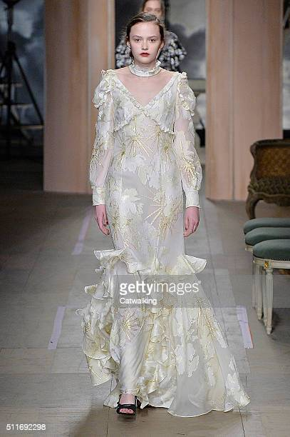 A model walks the runway at the Erdem Autumn Winter 2016 fashion show during London Fashion Week on February 22 2016 in London United Kingdom
