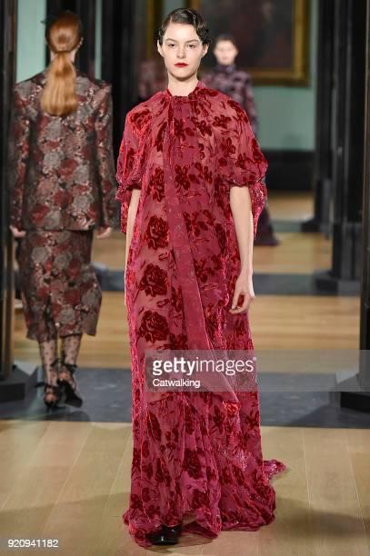Model walks the runway at the Erdem Autumn Winter 2018 fashion show during London Fashion Week on February 19, 2018 in London, United Kingdom.