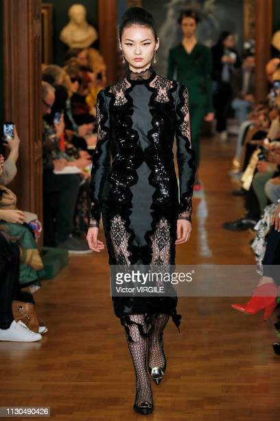 Model walks the runway at the Erdem Ready to Wear Fall/Winter 2019-2020 fashion show during London Fashion Week February 2019 on February 18, 2019 in...